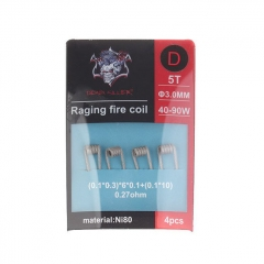 Authentic Demon Killer Ni80 Raging Fire Pre-Coiled Wire for RBA Atomizer (4pcs) 0.27ohm (40W-90W)