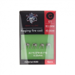 Authentic Demon Killer Ni80 Raging Fire Pre-Coiled Wire for RBA Atomizer (4pcs) 0.32ohm (40W-90W)