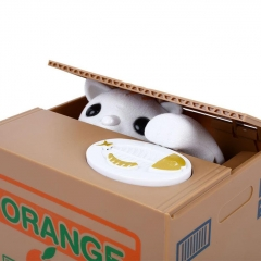 Money Bank Stealing Coin Bank Saving Money Box Case Piggy Bank Toys Cute Electric Cat - White