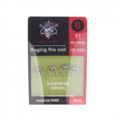 (Ships from Germany)Authentic Demon Killer Ni80 Raging Fire Pre-Coiled Wire for RBA Atomizer (4pcs) 0.25ohm (40W-90W)