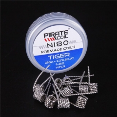 Pirate Vape Ni80 Tiger Prebulit Coil Wire 26GA+0.2*0.8 Flat/ 0.48ohm (10-Pack)
