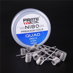 Pirate Vape Ni80 Quad Prebulit Coil Wire 28GA*4 / 0.32ohm (10-Pack)