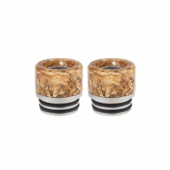 Authentic Clrane Resin + Stainless Steel Hybrid 810 Drip Tip (2-Pack) 15mm - Gold