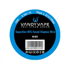 Authentic Vandy Vape Ni80 Superfine 30GA x 2 + 38GA MTL Fused Clapton Heating Resistance Wirem 3.5 Ohm / Ft (10 Feet)