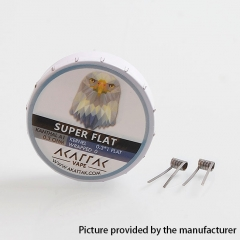 Authentic Akattak Super Flat Kanthal A1 Wire Pre-built Coils - 0.3 x 1 Flat/0.3 Ohm (20 PCS)