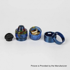 Authentic RFGVape 2+1 24.8mm RDA Rebuildable Dripping Atomizer w/ BF Pin - Blue + Blue Resin