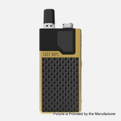 Authentic Lost Vape Orion DNA GO 40W 950mAh All-in-one Starter Kit 2ml/0.5ohm/0.25ohm - Gold Textured Carbon Fiber