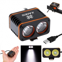 XANES DL01 1200LM 2xT6 LED 4-Mode Waterproof Bicycle Head Light Temperature Control Power Display
