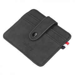Baellerry Nubuck Leather Card Holder - Black
