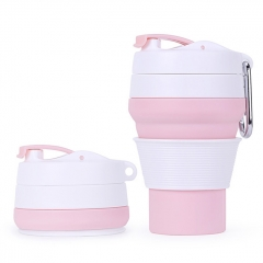 Outdoor Portable Silicone Folding Collapsible Travel Coffee Cup (350ml) - Pink