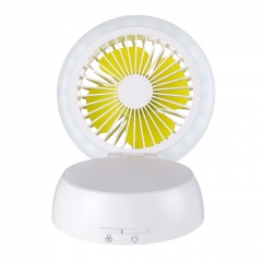 Mushroom Shape Table Fan Light  Rechargeable USB Fan Table Lamp - White