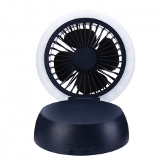 Mushroom Shape Table Fan Light  Rechargeable USB Fan Table Lamp - Black