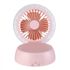 Mushroom Shape Table Fan Light  Rechargeable USB Fan Table Lamp - Pink