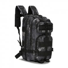 (Ships from Germany)Outdoor Tactical Backpack 600D Nylon Waterproof Camouflage Trekking Rucksack - Black Python
