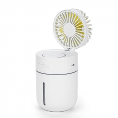 Outdoor Mini HandHeld USB Charging Fan Portable 2-in-1 USB Cooling Fan Air Humidifier T9 Fan - White