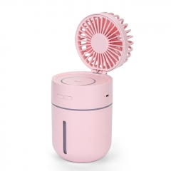 Outdoor Mini HandHeld USB Charging Fan Portable 2-in-1 USB Cooling Fan Air Humidifier T9 Fan - Pink