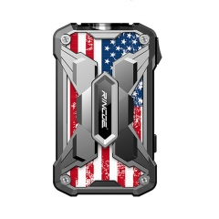 Authentic Rincoe Mechman 228W TC VW Variable Wattage Box Mod Dual 18650 - Steel Wing American Flag SS