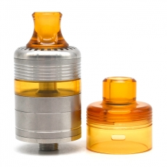 Whisper Style 22mm RTA Rebuildable Tank Atomizer 2.6ml w/RDA Cap - Silver Yellow