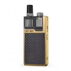 Authentic Lost Vape Orion Plus 22W DNA Pod System Kit 950mAh 2ml/0.25ohm/0.5ohm - Gold Textured Carbon Fiber