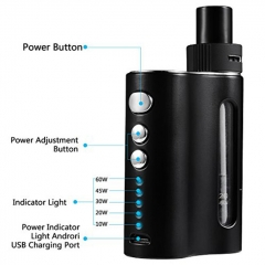 IXIGER Ecig BOW 60W Temperature Control Mod kit 1500mAh - Black