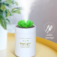 USB Port 280ML Mini Cactus Shape Air Purifier Cool Mist Humidifier for Car Home Office - White