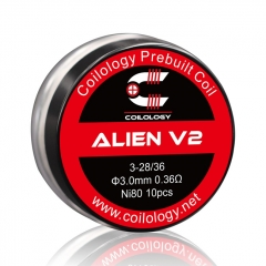 Coilology Alien Version 2 Coil Ni80 3*28/36 Gauge 0.36ohm 3mm - 10pcs