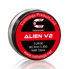 Coilology Alien Version 2 Coil Ni80 3*28/36 Gauge 0.3ohm 2.5mm - 10pcs