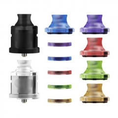 Vazzling Nio Style 22 mm Dripper RDA / RSA Master Kit with 5 Spare Colorful Top Caps & 510 Drip Tips & Beauty Rings - Silver + Black