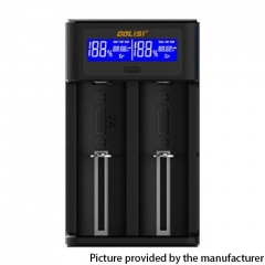 Authentic Golisi I2 2A Two-Slot Smart USB Charger w/ LCD Screen Compatible with Battery Length Ranging 32~70mm - Black