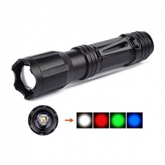 Vazzling 4 Color in 1 Multi-Color Flashlight 18650 Zoomable Tactical Flashlight Multi-Functional Flashlight for Hunting Fishing Hiking