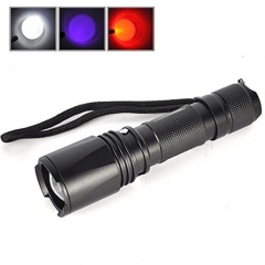 Vazzling B3 [3 in 1] Zoomable 3 x Cree LED Blubs White Red UV Light Flashlight Hunting Torch Lamp UV Ultraviolet Inspection BlackLight 3 Modes