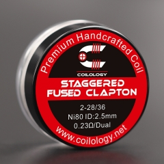 Authentic Coilology Ni80 Straggered Fused Clapton Prebuilt Coil 2*28/36 AWG 0.23ohm