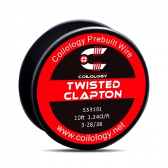 Authentic Coilology SS316 Twisted Clapton 3-28/38 AWG Prebuilt Spool Wire 10 Feet - 1.34ohm