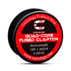 Authentic Coilology NI80 Quad-Core Fused Clapton 4-28/40 AWG Prebuilt Spool Wire 10 Feet - 1.3ohm